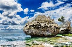 Balinese Beach (JOLIVETV) Tags: blue sea summer bali 3 green beach clouds photoshop indonesia rocks asia south tripod july manual kuta denpasar padang blending exposures 2013 18135mm canon60d jolivetv