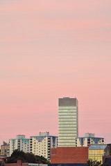 Pink (matrobinsonphoto) Tags: morning pink light red sky urban sun sunlight building tower colors beautiful architecture skyscraper sunrise dawn early high colorful soft university cityscape colours purple south sheffield yorkshire arts flats hues tall colourful rise scraper