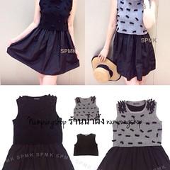 """Code1360 Set-Bow ties mesh crop top& prom black dress Dressแขนกุดสีดำกับเสื้อคร้อป ตกแต่งโบว์ผ้า ช่วงกระโปรงเย็บจีบพองผ้าอยู่ทรงบานกำลังดี ใส่แล้วน่ารักมาก สีเทา/สีดำ Free-size เดรส อก33""""-40"""" เอว32""""-36"""" ยาว31"""" เสื้อคร้อป อก34""""-46"""" วงแขน20"""" ยาว15.5"""" ราคา:"""