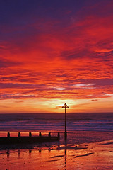 An Awesome Sunset 2 (John Ibbotson (catching up!)) Tags: sunset red sea wales clouds coast seaside ceredigion borth groynes