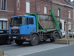 MAN 8-232 Multibenne Marrel (xavnco2) Tags: blue man france truck cab bleu lorry camion trucks skip picardie benne cabine lkw somme camions autocarro longueau saviem multibenne