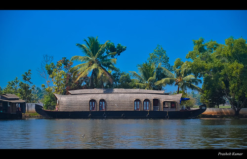 A parked Houseboat, Kerala