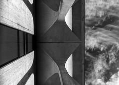 Smart Architecture (Darren LoPrinzi) Tags: sky urban blackandwhite bw detail college monochrome architecture modern clouds canon mono blackwhite newjersey university perspective nj architectural lookingup princeton modernarchitecture thirds urbanabstract urbanfragments princetonuniversity princetonnj canoneos7d canon7d