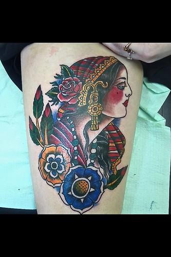 7af718154 Gypsy Girl Head Tattoo by KeelHauled Mike of Black Anchor Tattoo in Denton  Maryland