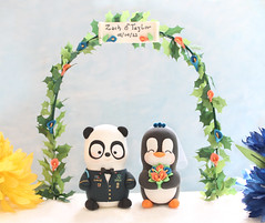 Military Panda and Penguin wedding cake topper with floral arch (PassionArte) Tags: wedding pet animal cake penguin groom bride panda handmade military jacket clay bouquet etsy toppers personalized