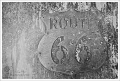 Route 66 (Phil Rettke) Tags: arizona blackandwhite bw usa monochrome sign mono us route66 unitedstatesofamerica az 66 historic route seligman canon5dmkiii canonef70200mmf28lisiiusm