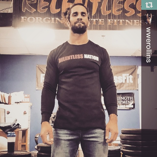 Last night he almost won the #wwe title, today hes testing the fit of #relentlessjeans. Continued success and big things in the near future for @wwerollins !!! #moneyinthebank ______________________________ Repost @wwerollins・・・Put on a pair of @relentl