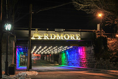 Ardmore (Janine J. Nelson) Tags: bridge night lights tunnel trains ardmore suburbansquare