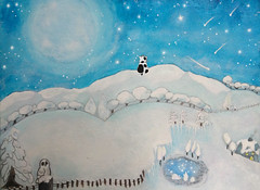 MICETTO HILL (Annabelle's Art) Tags: blue original trees moon white black fern art ice fairytale digital cat painting way stars cow pond graphics aqua heart snowy farm annabelle hill cottage dream orchard owl series shooting fatcat elliot lucid milky patches micetto