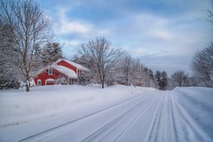 A Red House (JulyRiver) Tags: road street morning winter white snow cold weather clouds newengland redhouse