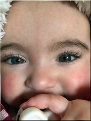 Pretty Baby! (Jo-85'F today. Whew, gonna be HOT!!!) Tags: black bottle eyes long pretty lashes sweet finger chloe greay pinkcheeks