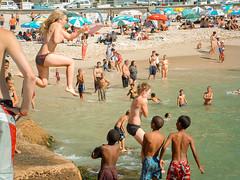 Topless Jump (Steve Crane) Tags: people woman girl southafrica women harbour bikini topless teenager dare swimsuit swimwear gordonsbay westerncape helderberg bikinibeach