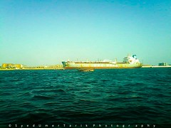 Slow down the waves. (Umer Tarik) Tags: world travel blue pakistan sea water port photography exposure ship shot explore karachi traveler photogrid mykarachi