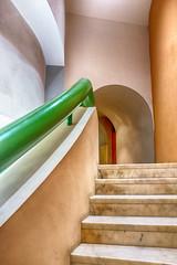 Stairway with Green Handrail (HelenBushe) Tags: architecture modern fuji arts stairway valletta stjamescavalier 23mm x100s