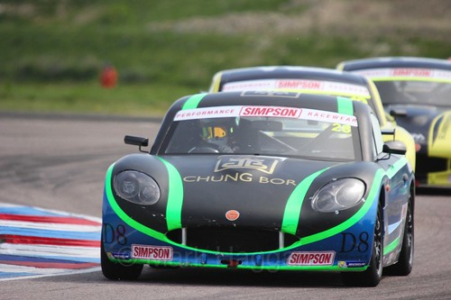 Charlie Fagg in the Ginetta Juniors Race during the BTCC Weekend at Thruxton, May 2016