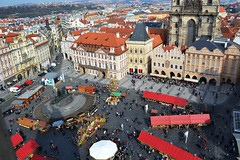 Main Square (crayones brillantes) Tags: city travel urban panorama buildings square europe view prague top main eu praha praga explore vistas cima discover