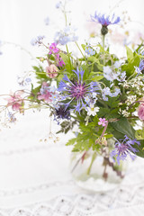 soft summer jug of garden flowers (photoart33) Tags: summer stilllife lace vase highkey columbine geranium forgetmenots