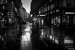 Vienna (William MacGregor) Tags: vienna road street city people blackandwhite monochrome rain architecture night canon austria alley europe european nightshot image outdoor ngc noflash rainy 5d dslr cityview twop damncool graben 50d twtp yourbestoftoday macgregorwilliam