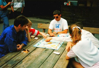 West Germany   -   HerbornSeelbach   -   Grillhütte   -   Church Picnic   -   Jessica, Jeb & friends playing Monopoly    -    30 July 1989