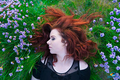 In Silence (John Mee Photography) Tags: flowers ireland red green art grass fineart dream dreaming redhead silence mayo asleep emer redhair roonagh johnmeephotography