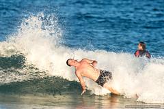 Taking a dive - Tallow Beach Surfers (sbyrnedotcom) Tags: blue sea fall beach sports surf waves action australia surfing nsw surfers tamron byronbay lean tallowbeach