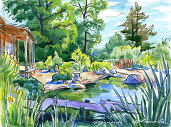 25-06-16s (Irina V. Ivanova) Tags: park plant tree art ink garden painting landscape botanical sketch pond outdoor drawing watercolour saintpetersburg pleinair 365sketches