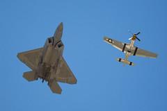 F-22 Raptor and P-51 Mustang performing the Air Force Heritage Flight (W.L.M.II) Tags: raptor stealth f22 f22raptor spiritofstlouisairshowstemexpomay2016
