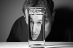 Self Portrait No. 8 (Water) (John Bense) Tags: portrait blackandwhite selfportrait abstract water glass monochrome self drink vision reflect liquid optics refract glassofwater thrist