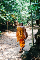 Buddhist monk walking through the rainforest (Evgeny Ermakov) Tags: travel orange man green nature forest walking asian thailand religious temple back rainforest asia southeastasia walk buddha buddhist traditional religion culture buddhism exotic tropical southeast krabi touristic buddhistic tigercave tigercavetemple editorialuse