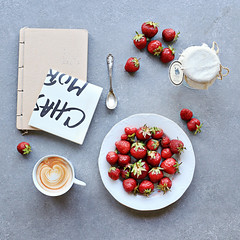 strawberries. for breakfast, lunch and dinner. (sma_kee) Tags: morning stilllife coffee fruits fruit breakfast strawberries squareformat brunch squarecrop summerdays morningcoffee summerlove summermemories onmytable tabletopphotography perfectbreakfast flatlay flatlaystyle strawberriesandcoffee breakfastflatlay