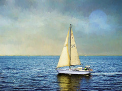 Sailboat 34174 (CapeCawder) Tags: photoart capecod topazimpression provincetown capecawder usflag digitalphotoart topaztextureeffects topazsoftware americanflag sailboat ononeperfecteffects