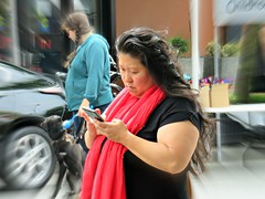 Red Scarf  and IDumb (knightbefore_99) Tags: car free day commercialdrive eastvan thedrive candid people bc canada june italy italian sunday 2016 red scarf