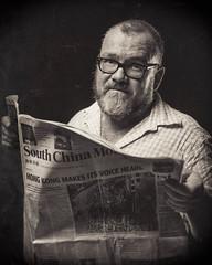Harry Harrison. Hong Kong Political Cartoonist (Hong Kong Eye) Tags: portrait film sepia hongkong glasses newspaper tintype 4x5 analogue toned mop cartoonist ilforddelta100 garyjones 127mm kodakhc110 harryharrison graphlexspeedgraphic july2016