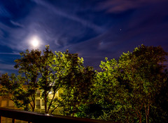 Moony Sky (Romain Roellet) Tags: moon sky moony blue tree back light high school middle night long exposure cloud trail beautiful contrast clouds stars star tral trails canon eos flickr