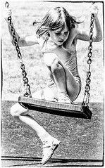 """""""I wonder how high I can get today"""" (lizzieisdizzy) Tags: outside play playpark child girl skinny slim swing enjoyment happy hapiness sandalds sitting awkward awkwardly rope chain holdigon grip fist fairhair movement seat wooden"""
