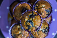 Blueberry and White Chocolate Muffins (lifeless567) Tags: lighting food white macro cooking up field canon studio dessert eos muffins baking yummy close sweet chocolate cook tasty down blueberry bake depth 70d