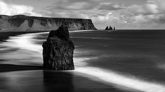 silent guardians of Iceland's South coast (lunaryuna) Tags: longexposure light panorama seascape weather season landscape coast blackwhite iceland spring vik le shore southcoast lunaryuna monoliths northatlantic dyrholaey southiceland columnarbasalt bwmonochrome