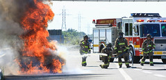 QEW Vehicle Fire in Grimsby (Shane Murphy - Photojournalist) Tags: vehicle fire accident full involved fd lincoln grimsby ontario niagara region canada emergeny services breaking news freelance photographer emergency