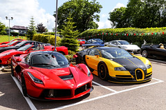 Lady Bug & Bumble Bee (Reece Garside | Photography) Tags: street red summer sun london history car yellow canon hotel italian ferrari bugatti rare supercar veyron 6d spotter hypercar sharnbrook canon6d laferrari oakleydesign