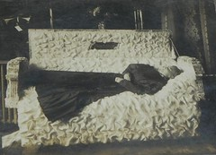 Postmortem (Gerri Gray Photography) Tags: woman monochrome sepia female vintage dead photography death wake post antique victorian casket funeral photograph corpse coffin edwardian postmortem mortem
