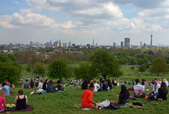 May Day Primrose Hill (DncnH) Tags: city panorama london sunshine landscape spring picnic view stpauls londoneye bttower mayday canarywharf primrosehill shard gherkin orbit walkietalkie nw1 cheesegrater