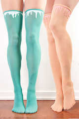thigh high teal peach (Candydrip) Tags: cute yummy teal peach tights drip nylon leggings silicone thighhigh candydrip