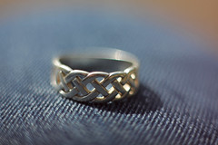 Celtic ring (Littlevegemite) Tags: uk england art canon silver lens photography eos 50mm unitedkingdom united free kingdom ring jeans fabric celtic bishops stortford 50mm18 lensing canon50mm whacking bishopsstortford silverring 60d canon60d freelensing lenswhacking