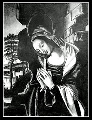 The Virgin Mary Praying - Pencil Drawing by STEVEN CHATEAUNEUF (snc145) Tags: portrait sky tree art love face stone wall pencil hope hands artist artistic drawing faith religion praying drawings halo artists christianity virginmary tones copy pencildrawing shading stevenchateauneuf
