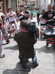 P1080072 (What's a widget?) Tags: camera drums soho cobbles drummers cameraman batala rupertst
