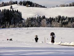 Silvesterklaus in the Appenzell landscape (Markus CH64) Tags: st schweiz nikon sylvester kultur klaus mummers markus appenzell brauchtum waldstatt 2013 ch64 ausserrhoden d3s silvesterkluse silvesterklaus silvesterchlaus
