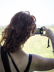 Hanneke, Meije 2013: Pictured taking pictures (mdiepraam) Tags: portrait woman beautiful dutch photography pretty gorgeous meadow curls redhead mature attractive hanneke backshot meije fortysomething 2013 deblauwemeije
