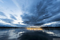 still waters ([nosamk] KMason photography) Tags: sunset sky lake seascape reflection water clouds landscape washington waves unitedstates ripples sunsetpark sigma15mmf28exdgdiagonalfisheye lakestevens