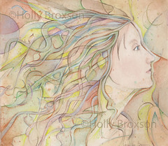 watercolor lady (hollimonster1) Tags: trees moon art leaves illustration forest watercolor fly wings acrylic balloon goth luna fairy fantasy ethereal teapot imagination inspirational wicca pagan coloredpencil wiccan dragondragonfly