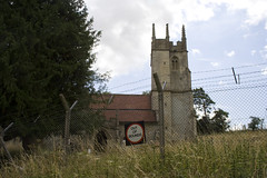 Church surrounded by barbed wire (IanVisits) Tags: buses mod routemaster salisburyplain warminster imber imberbus borisbus
